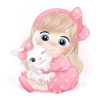 Menina bonitinha abraçando uma ilustração de coelho