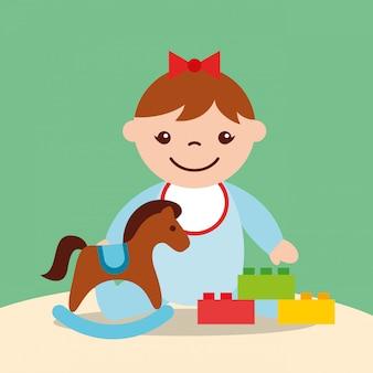 Menina bonitinha cavalo de balanço e blocos de tijolos brinquedos
