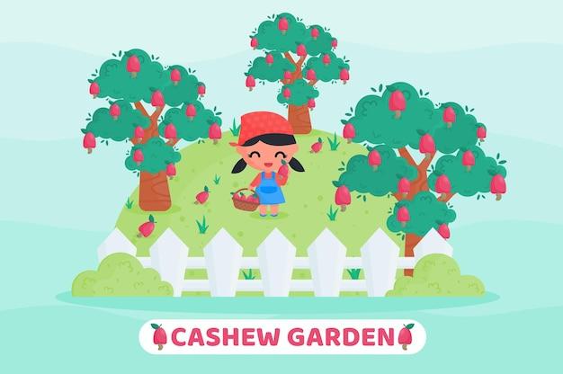 Menina bonitinha colhendo frutas na ilustração dos desenhos animados do jardim do caju