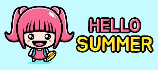 Menina bonitinha com banner de saudação de verão