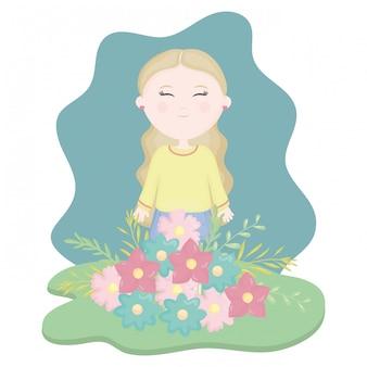 Menina bonitinha com bouquet floral no campo