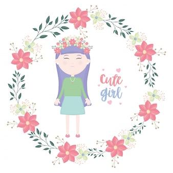 Menina bonitinha com caráter coroa floral