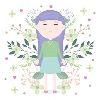 Menina bonitinha com caráter de decoração floral