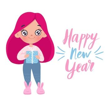 Menina bonitinha com cartão de brinquedo de ano novo