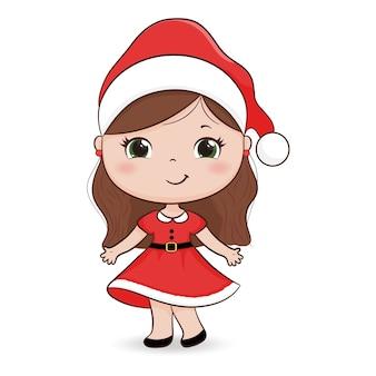 Menina bonitinha com chapéu de papai noel. traje de natal.