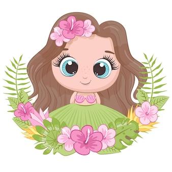 Menina bonitinha com coroa de flores do havaí. ilustração do vetor dos desenhos animados.
