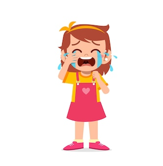 Menina bonitinha com expressão de choro e birra