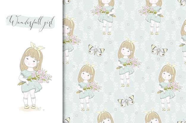 Menina bonitinha com ilustração de flores e padrão sem emenda.