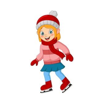 Menina bonitinha com roupas de inverno jogando patinação no gelo