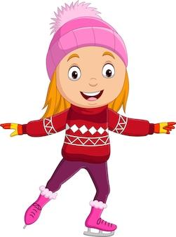 Menina bonitinha com roupas de inverno patinando no gelo
