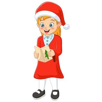 Menina bonitinha com roupas de papai noel cantando canções de natal