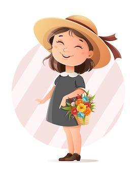 Menina bonitinha com um chapéu segurando uma cesta de flores