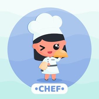 Menina bonitinha com uniforme de chef servindo comida ilustração de personagem de desenho animado Vetor Premium