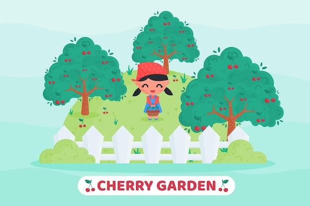 Menina bonitinha com uniforme de fazendeiro colhendo cerejas no jardim de frutas