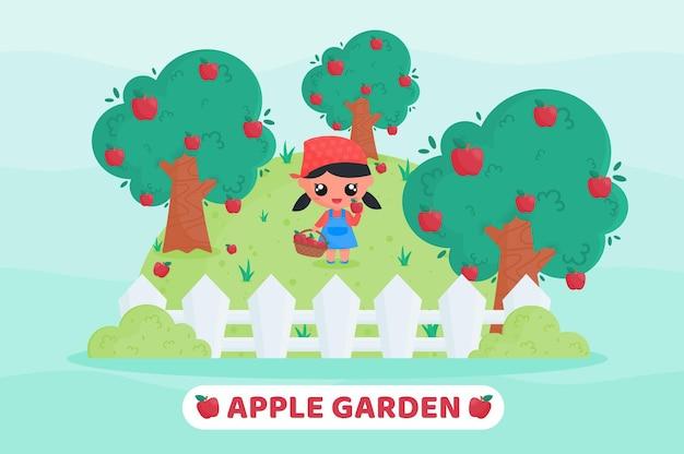 Menina bonitinha com uniforme de fazendeiro colhendo maçãs no jardim de frutas