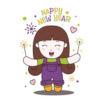 Menina bonitinha comemorar feliz ano novo feriado.