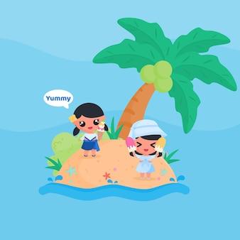 Menina bonitinha comer sorvete na praia no verão design plano estilo cartoon vetor