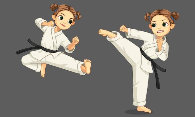 Menina bonitinha de caratê em 2 diferentes poses de caratê ilustração