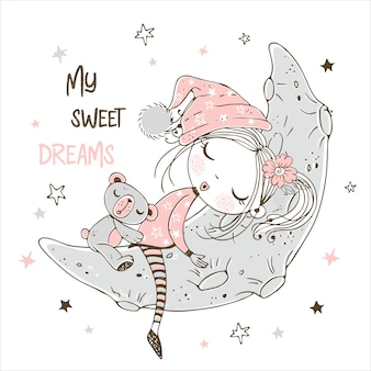 Menina bonitinha dormindo com ursinho de pelúcia na lua.