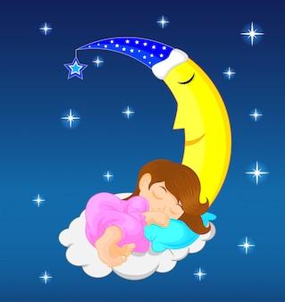 Menina bonitinha dormindo na lua