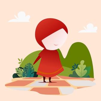 Menina bonitinha em vermelho com vetor premium de fundo de natureza