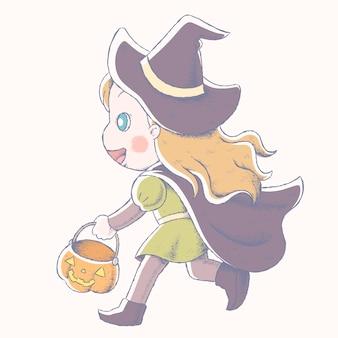 Menina bonitinha fantasiada de bruxa e segurando um balde de abóbora