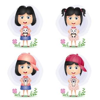 Menina bonitinha feliz brincando e abraço com a boneca