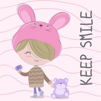 Menina bonitinha mão desenhada crianças ilustração-vetor