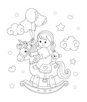 Menina bonitinha montando um cavalo de balanço de unicórnio desenhando a ilustração da página para colorir