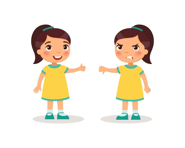 Menina bonitinha mostra o polegar para cima e o polegar para baixo. personagens de desenhos animados de crianças.