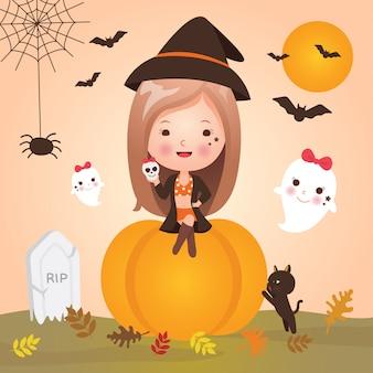 Menina bonitinha no halloween