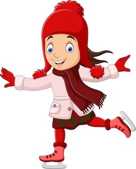 Menina bonitinha patinando com roupas quentes no gelo