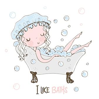 Menina bonitinha toma um banho de espuma.