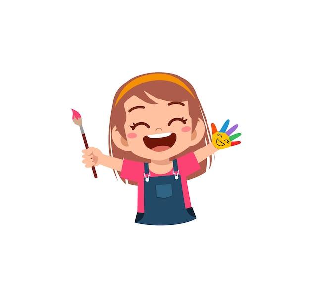 Menina bonitinha usando tinta à mão para a arte