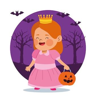 Menina bonitinha vestida como uma personagem princesa e desenho de ilustração vetorial de morcegos