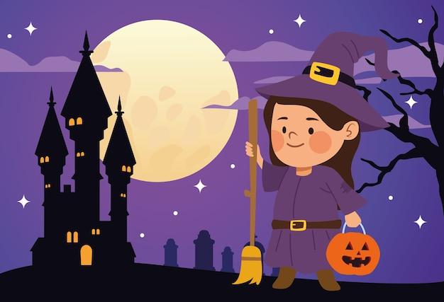 Menina bonitinha vestida de bruxa e desenho de ilustração vetorial de cena de castelo