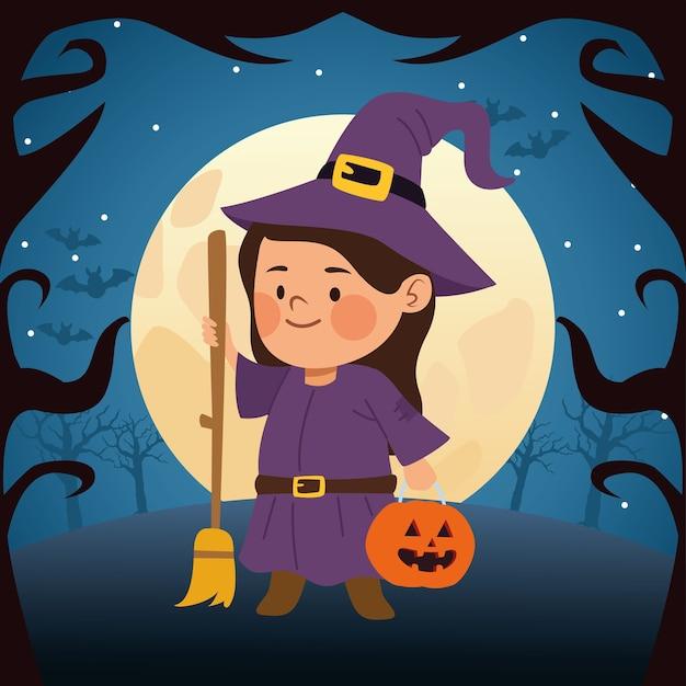 Menina bonitinha vestida de bruxa e desenho de ilustração vetorial lua noite