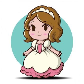 Menina bonitinha vestindo uma princesa., conceito de desenho animado de conto arejado.