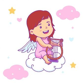 Menina bonito bebê anjo tocar harpa