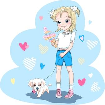Menina bonito com filhote de cachorro