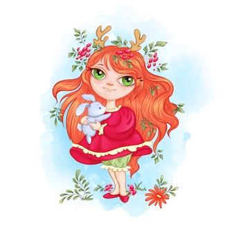 Menina bonito da floresta com chifres de veado detém um pouco de lebre.
