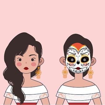 Menina bonito do méxico com ilustração do rosto do crânio.