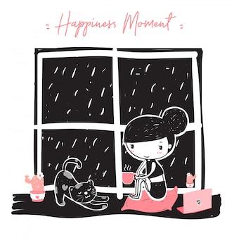 Menina bonito doodle hoding uma xícara de café rosa sentado perto da janela na noite chuvosa com gato preguiçoso, trabalho em casa com gato