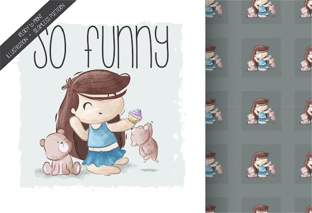 Menina bonito dos desenhos animados, brincando com padrão sem emenda de animais de estimação