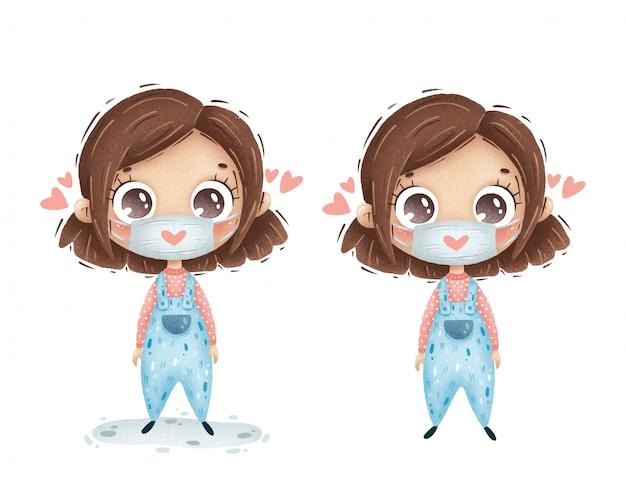 Menina bonito dos desenhos animados com cabelo castanho em uma máscara médica com um coração em um fundo branco