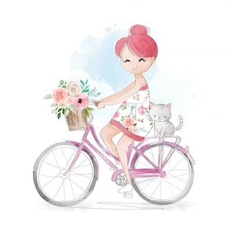 Menina bonito dos desenhos animados com gatinho andando de bicicleta ilustração