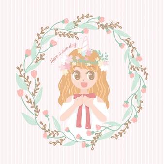 Menina bonito dos desenhos animados com moldura floral