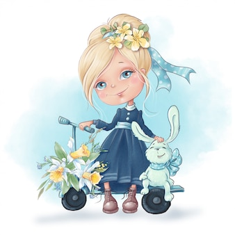 Menina bonito dos desenhos animados com um coelho amigos, com flores da primavera