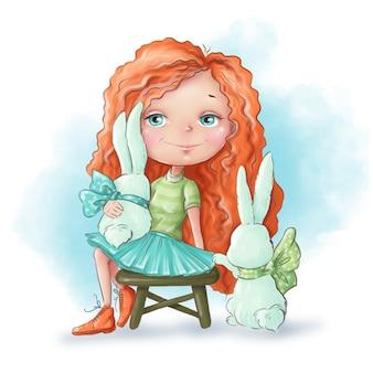 Menina bonito dos desenhos animados com um coelho amigos