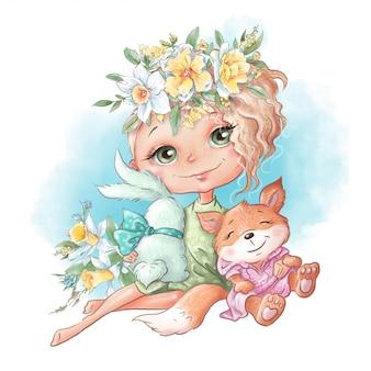 Menina bonito dos desenhos animados com um coelho e uma chanterelle amigos, com flores da primavera